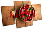 Red Chili Peppers Food Kitchen MULTI CANVAS WALL ART Picture Print VA