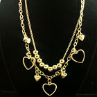 """18"""" GOLD OR SILVER NECKLACE SET/ 2 LINE CHAIN W/ METAL BALLS & HEART CHARMS"""