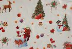 CHRISTMAS WHITE VINYL PVC OILCLOTH WIPE CLEAN TABLECLOTH CO click for sizes
