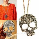 Fashion Women Silver Vintage Punk Rock Gothic Skull Pendant Long Chain Necklace