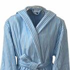 Blue Striped Velour Hooded Cotton Dressing Gowns Mens Womens Towelling Bathrobes