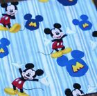 "Good Quality 1 2 yard Blue Mickey Mouse printed 100% Cotton Plain Fabric 43"" 115"