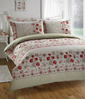 Donna Daisy Floral Polkadots Red Green Beige Duvet Cover Quilt Bedding Set