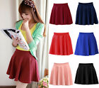Sexy Womens Girls Stretch Waist Pleated Jersey Plain Skater Flared Mini Skirt