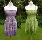 Boho Chic Batik Strappy Sexy Sun Top Mini Dress 12 14 16 18 20 Lilac or Lime