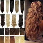 Long Curly Wavy Straight 8pcs Full head clip in hair extensions as human