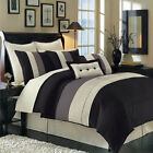 Luxury Stripe Bedding Black Grey and White King Size 8 Piece Comforter Set