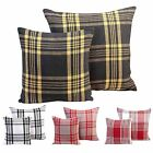 Large Filled Tartan Cushion Covers Cotton Sofa Bed Decorative Scatter Cushions