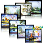 PSV Wall Paper Nature Scenery Picture With Wooden Frame Clock