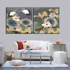 Crane Birds Modern Decorative Canvas Print Set Of 2 FRAMED Choice Of Wall Clock