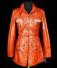 Pamela Red Waxed Ladies Retro Vintage Real Soft Sheep Washed Leather Long Jacket