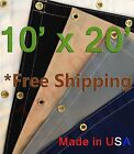 10' x 20' Workhorse Polyester Canvas Waterproof Breathable Tarp Boat RV Cover