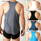 Mens NEW Cotton RACERBACK CURVED Gym Training Singlet Stringer BodyBuilding Tank