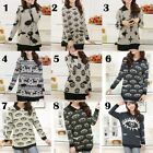 Women Sunflower/Crown/Eye/Deer Sweater Jumper Knitted Pullover Collar Retro Gray