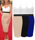 Fashion Womens Strappy Contrast Solid Midi Bodycon Pencil Skirt Celebrity Dress