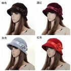 Chic Womens Flower Warm Winter Cony Hair Formal Party Caps Church Cloche Hats