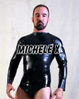 NEW Black Latex Rubber Unisex Long Sleeved Shirt (ENGLISH) S M L XL