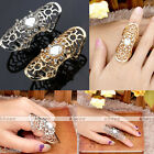 Full Finger Gothic Hollow Crystal Medieval Steampunk Biker Knuckle Jointed Ring