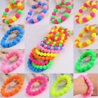 "Silicone Rubber Round Beads Stretchy Cuff Bracelet Bangle Wristband Jewelry 6""L"