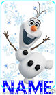 OLAF SNOWMAN FROZEN PERSONALISED IRON ON TRANSFER for ANY COLOURED MATERIAL
