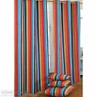 Multi Coloured Striped Ready Made Eyelet Curtain Cotton Kids Children Curtains