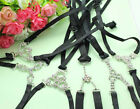 Women Black Rhinestone Lingerie Bra Underwear Cross shoulder Straps RT331-336