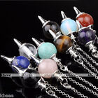 1pc Silvery Pendulum Divination Dowsing Point Chakra Ball Pendant Chain Bracelet
