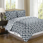 Sierra Navy/White Silky Soft 100% Egyptian Cotton Reversible Duvet Cover