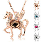 Rose Gold GP 4 Colors Fashion Cute Winged Horse Chrismas Gift Necklace 28pa