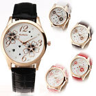PU Leather Delicated Womens Dress Casual Flowers Girls Quartz Analog Wrist Watch