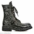 Newrock New Rock Women M-1423-S2 Black Vintage Flower 8 Hole Lace up Boots