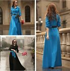 Women Lady Vintage Button Slim Shirt Long Dress Shirting Dress Black Blue Gift