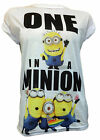 Womens Despicable Me 2 Minions T Shirt Ladies  Roll Sleeve Top Size 6 - 20 NEW