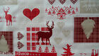 XMAS REINDEER CHECK RED VINYL OILCLOTH WIPE CLEAN TABLECLOTH CO click for sizes