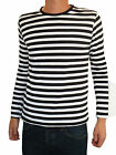 Mens Stripey t-shirt tee Black White nautical indie mod Top striped vtg jumper
