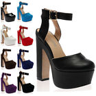 New Womens Party Strappy Ladies Platform Block High Heel Sandals Shoes Size 3-8
