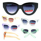 Womens Clear Color Plastic Thick Nerdy Geek Cat Eye Trendy Fashion Sunglasses