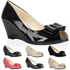 NEW WOMENS BOW LADIES PEEP TOE WEDGE HEEL FORMAL SMART OFFICE SHOES SIZE 3-8