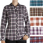 Womens Shirts Dickies Long Sleeve Flannel Plaid Button Front Cotton Top FL032