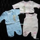 BABY BOY GIRL 2 PIECE PLAYSUIT-0/3-3/6-6/9 MONTHS-PINK/BLUE-VERY CUTE DESIGN-NEW