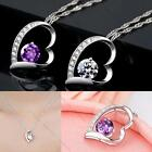 Fashion Women White Gold Plated Crystal Heart Pendant & Chain Necklace Love Gift