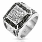 Stainless Steel Clear Micro Pave CZ w/ Black CZ Border Cast Men's Ring Size 9-13