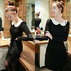 New Womens Long Sleeves Pleated Peter Pan Contrast Collar Baby Doll Dress B5UT