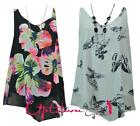 NEW WOMENS LADIES V NECK SLEEVELESS CHIFFON FLORAL VEST TOP WITH NECKLACE 8-14