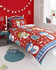Christmas Xmas Red Duvet Cover & P/case Bedding Bed Set Snow Man Snowman Kids