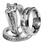 Shiny Hers Sterling Silver His Stainless Steel Wedding Engagement Ring Band Set