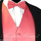 Coral Solid New Men Tuxedo Suit Vest Waistcoat and Bow tie Prom Wedding Party for sale  Shipping to Nigeria
