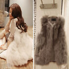 Korean Women Faux Fur Shaggy Chic Vest Gilet Sleeveless Outrwear Waistcoat Great