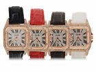 Women Rhinestones Stainless Steel Square Dial PU Leather Band Quartz Wrist Watch