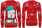 Womens Ladies Xmas Novelty Long Sleeve Snow Man 3D Print Knitted Sweater Jumper